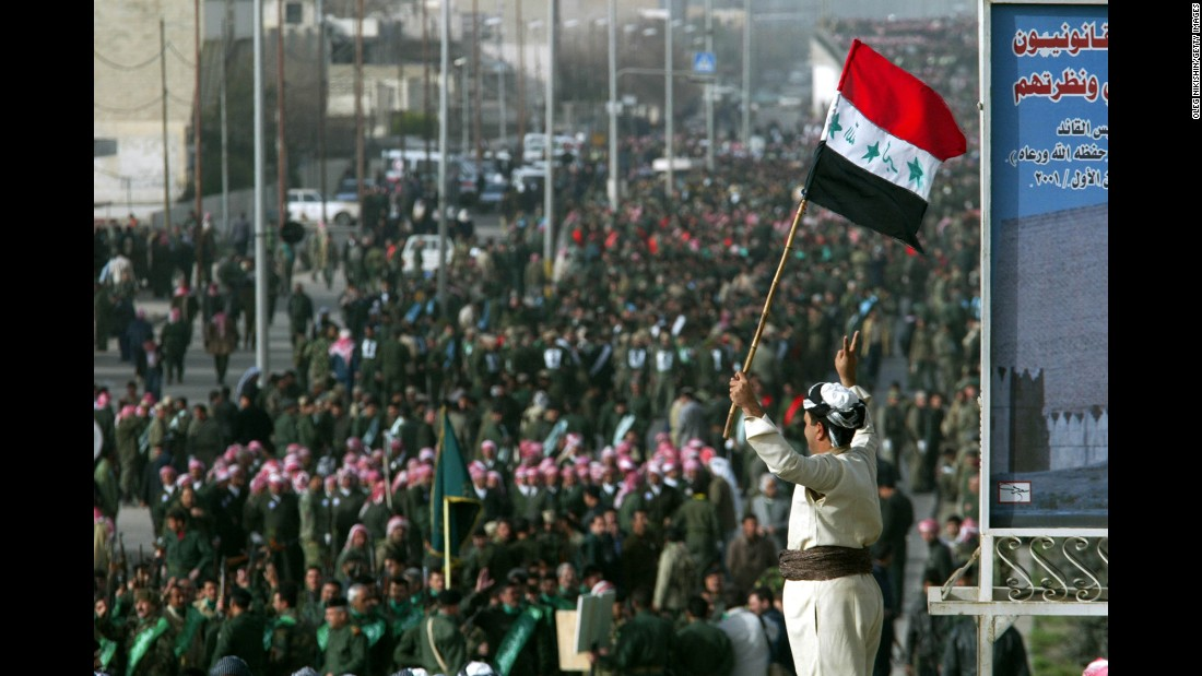 Crowds gathered in Mosul in February 2003 to protest US threats of invasion.