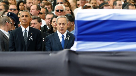 U.S. President Barack Obama stands beside Israeli Prime Minister Benjamin Netanyahu, front right, at the funeral of former Israeli President Shimon Peres on Friday, September 30. Peres, who shared a Nobel Prize for forging a peace deal between Israelis and Palestinians, died Wednesday at the age of 93.