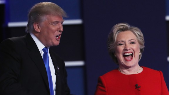 Republican nominee Donald Trump and Democratic nominee Hillary Clinton shake hands at the end of the first presidential debate, which took place in Hempstead, New York, on Monday, September 26. It was the most-watched debate in American history.