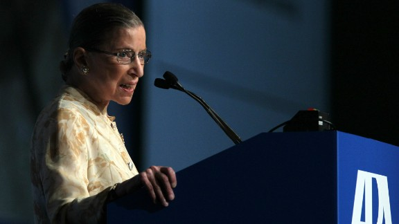 U.S. Supreme Court justice Ruth Bader Ginsburg speaks to delegates at the American Bar Association (ABA) House of Delegates meeting August 9, 2010 in San Francisco, California.