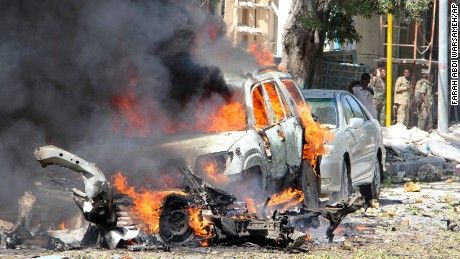 A car burns Saturday in Mogadishu, Somalia, after a vehicle packed with explosives detonated.