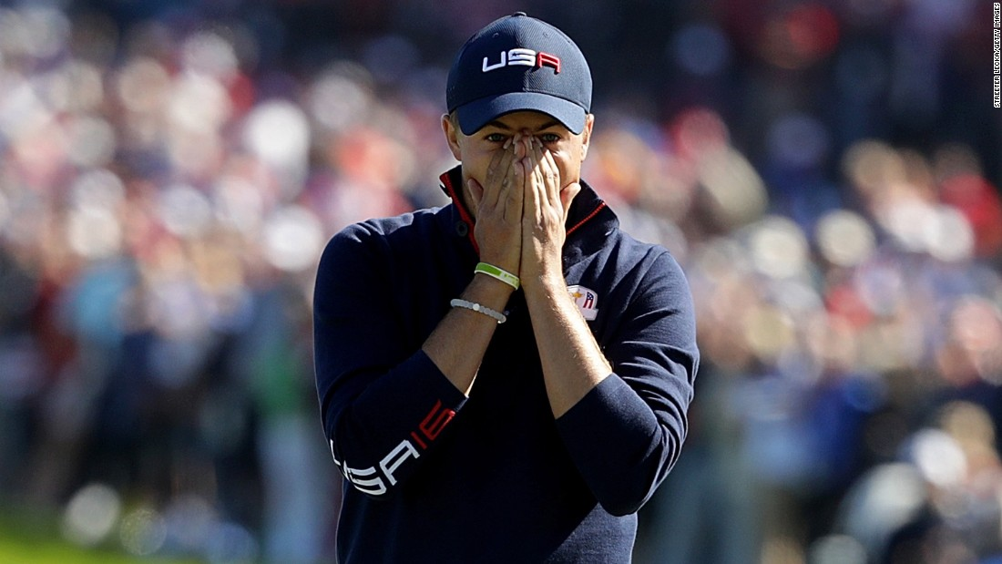Jordan Spieth of the United States reacts to a missed putt on the 17th green.