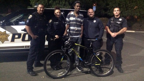 Jourdan Duncan was surprised by police giving him a bicycle after they saw him walking to work.