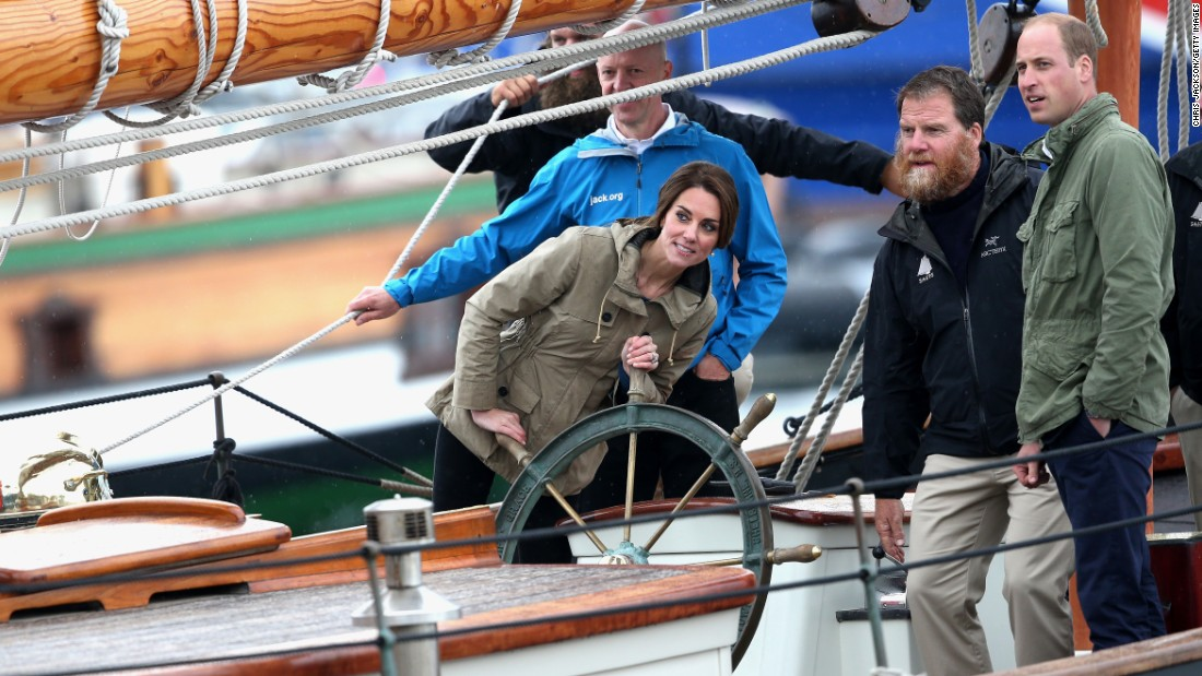 Catherine, Duchess of Cambridge, helms the tall ship Pacific Grace in Victoria Harbour on the final day of the royal tour of Canada on October 1 in Victoria, Canada.