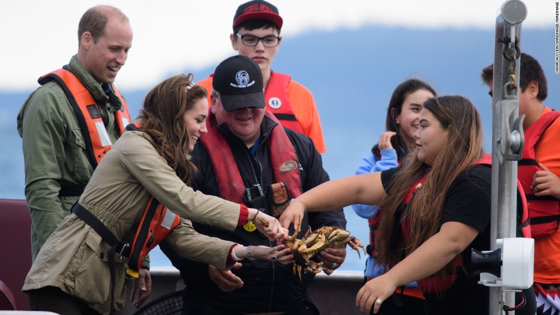 William and Catherine take part in a fishing boat trip on September 30 in Haida Gwaii, Canada.