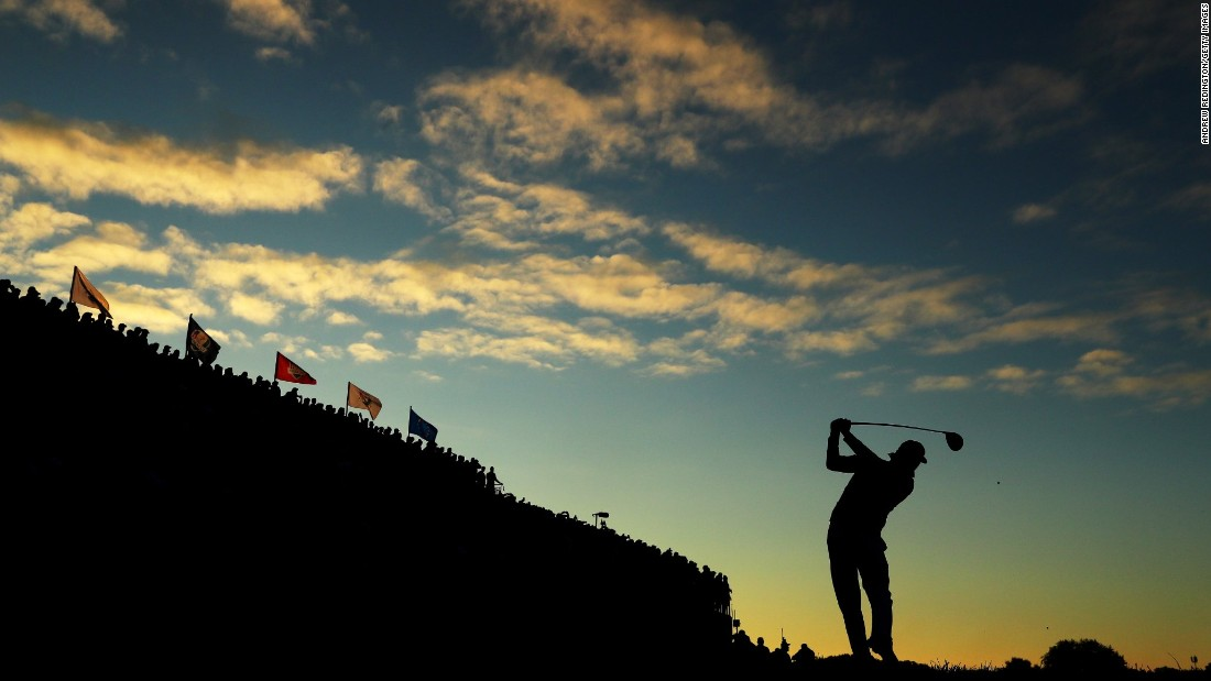 Rickie Fowler of the United States hits off the first tee during morning foursome matches of the 2016 Ryder Cup at Hazeltine National Golf Club on October 1 in Chaska, Minnesota.