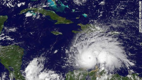Hurricane Matthew as seen in the Caribbean.
