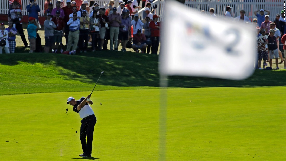 United States' Matt Kuchar hits to the second hole.