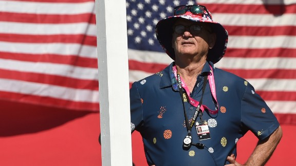 Actor Bill Murray watches the play during on the third day.
