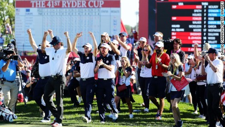 Vice-captain Bubba Watson, J.B. Holmes, Jordan Spieth and Jimmy Walker of the United States celebrate on the 18th green after winning the Ryder Cup during singles matches of the 2016 Ryder Cup at Hazeltine National Golf Club on October 2 in Chaska, Minnesota.