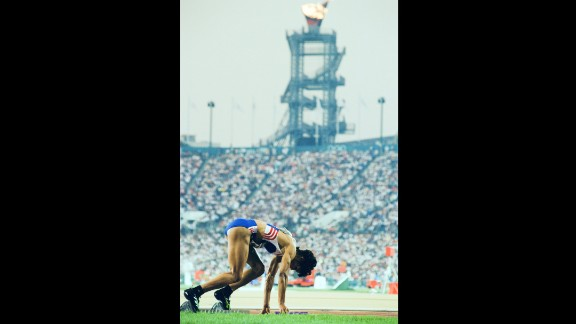 Phylis Smith of Great Britain at the start of the Women's 4x400m relay at the 1996 Games' Centennial Olympic Stadium, which became Turner Field.