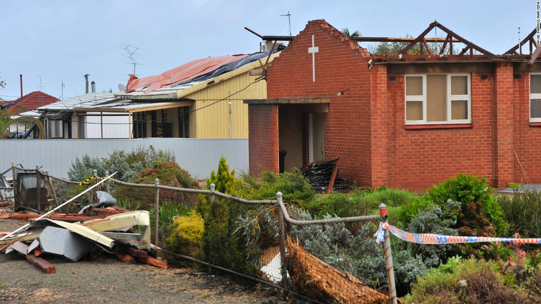 The town of Blyth, Australia, was damaged by a storm on Thursday, September 29.