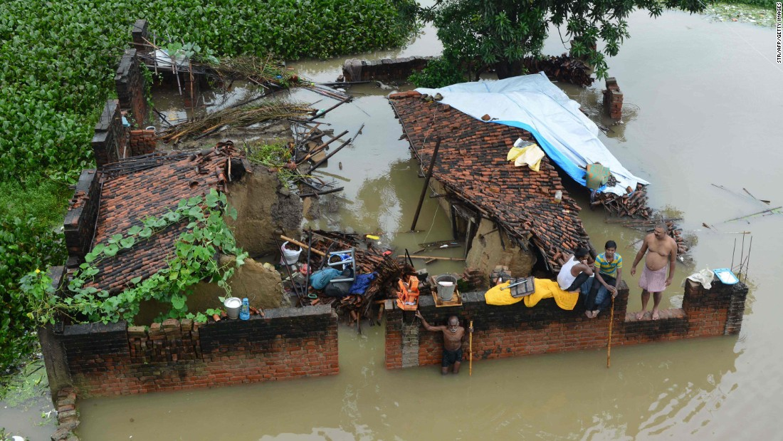 Floodwaters destroyed this house in Gaya, India, on Tuesday, September 6.