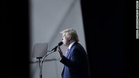 Republican presidential nominee Donald Trump speaks during a rally at Spooky Nook Sports center in Manheim, Pennsylvania on October 1, 2016.