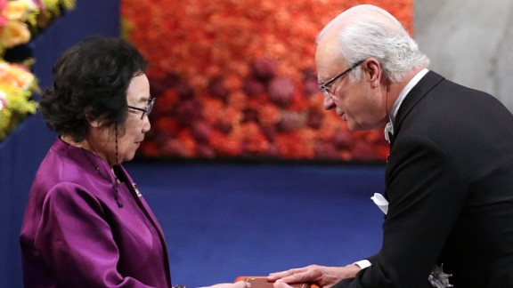 """In the 1970s, <a href=""""http://www.cnn.com/2015/10/06/asia/china-malaria-nobel-prize-tu-youyou/"""">Tu YouYou</a> discovered that artemisinin, a compound extracted from sweet wormwood, was effective in treating malaria. Tu Youyou and her research team tested more than 2,000 traditional Chinese recipes on mice before finding artemisinin, wihch saved millions of lives in malaria-stricken countries.<br /><br />The divided 2015 prize also went to Ireland's William C. Campbell and Japan's Satoshi Omura for """"their discoveries concerning a novel therapy against infections caused by roundworm parasites."""" <br />"""