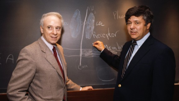 Michael S. Brown and Joseph L. Goldstein are credited for discovering low-density lipoprotein (LDL) receptors, which are responsible for regulating the amount of cholesterol in the blood.