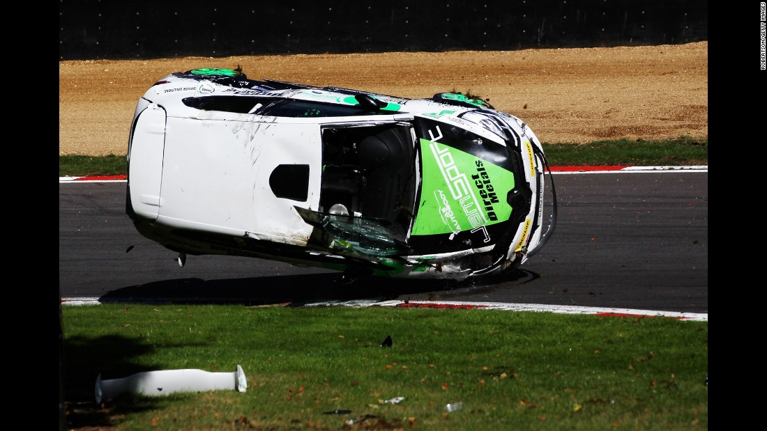 Luke Kidsley's vehicle crashes during a Renault Clio Cup race in Longfield, England, on Sunday, October 2. He said on his Twitter account that he was OK but sore.