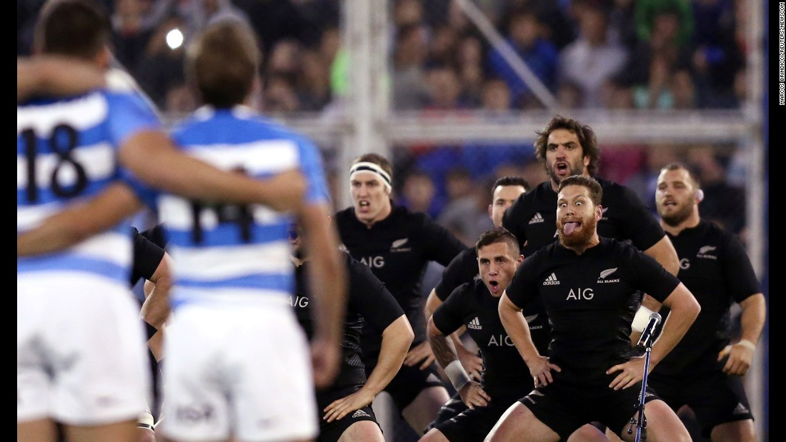 New Zealand's rugby team performs its traditional haka dance before a match in Argentina on Saturday, October 1.