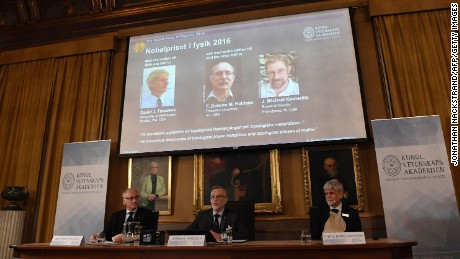 The winners of the 2016 Nobel Prize in Physics were announced in Stockholm, Sweden, on Tuesday October 4.