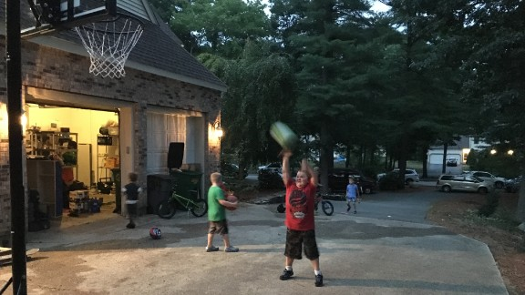 Max McNary, age 14, playing basketball