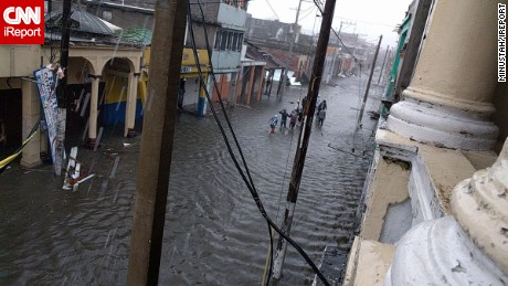Hurricane Matthew left  the city of Les Cayes underwater Tuesday.