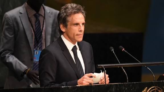 Actor Ben Stiller speaks to the #withrefugees group prior to handing over a petition to UN Secretary-General on September 16 at the United Nations in New York.