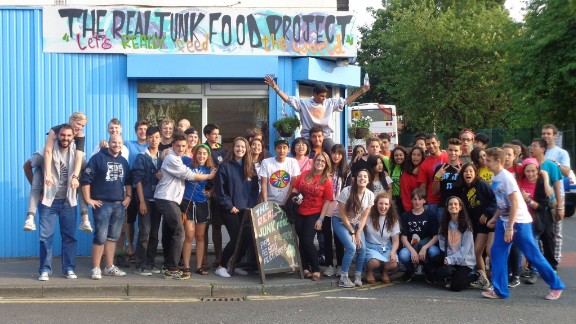 Outside the Armley Junk-tion in Leeds - the first Real Junk Food cafe, launched in 2013.