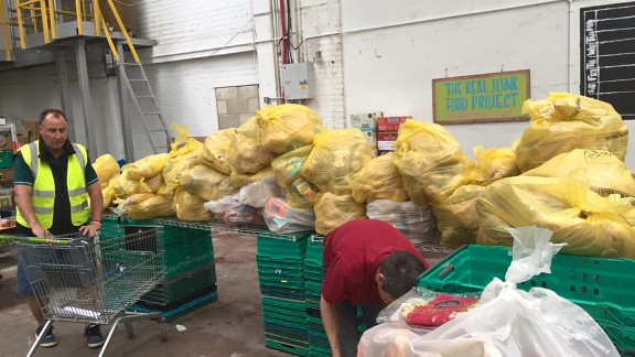 The team deal with vast quantities of discarded bread each day.