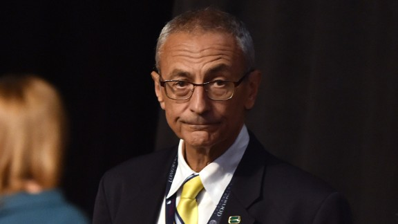 John Podesta, Chairman of the 2016 Hillary Clinton presidential campaign, looks on before the first vice presidential debate at Longwood University in Farmville, Virginia on October 4, 2016.
