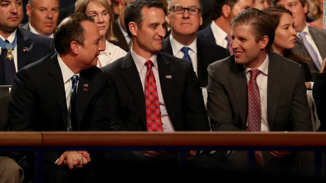 Trump's son Eric, right, attends the debate at Longwood University. Sitting next to him, from left, are Republican National Committee Chairman Reince Priebus and John Whitbeck, chairman of the Virginia Republican Party.