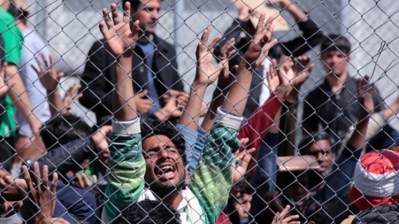 Refugees from Afghanistan and Pakistan protest against their deportation to Turkey on April 5, 2016 in Lesbos, Greece. An unlimited number of migrants will soon be returned to Afghanistan from the EU