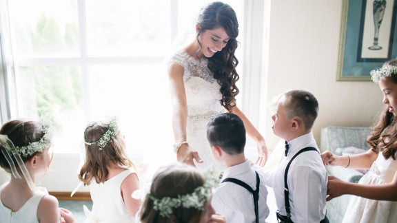 Kinsey French with her special needs students at her wedding