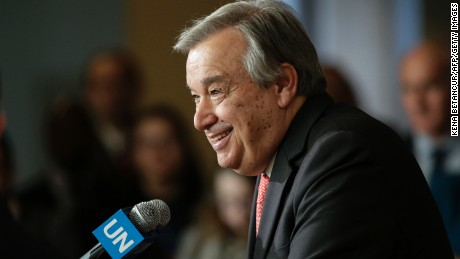 Antonio Guterres speaks to reporters on the selection of the next UN Secretary-General at the UN headquarters in New York, on April 12, 2016.