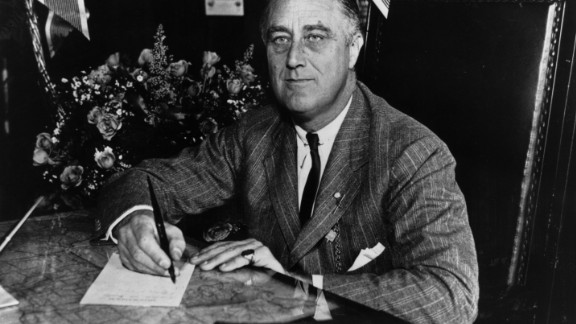 1936:  Franklin Delano Roosevelt (1882 - 1945) the 32nd President of the United States from 1933-45. A Democrat, he led his country through the depression of the 1930