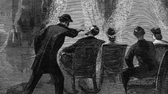 14th April 1865:  John Wilkes Booth assassinating President Abraham at the Ford Theatre, Washington DC. From an edition of Harper