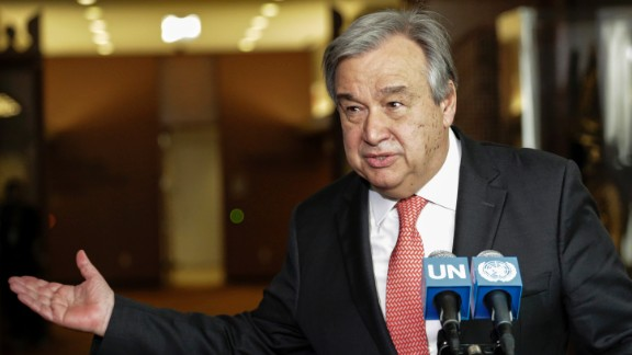 Antonio Guterres speaks to reporters on the selection of the next UN Secretary-General  at the UN headquarters in New York, on April 12, 2016.  / AFP / KENA BETANCUR