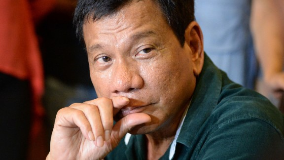 "Philippine President-elect Rodrigo Duterte speaks during his first press conference since he claimed victory in the presidential election, at a restaurant in Davao City, on the southern island of Mindanao on May 15, 2016. Duterte vowed on May 15 to reintroduce capital punishment and give security forces ""shoot-to-kill"" orders in a devastating war on crime. / AFP / TED ALJIBE        (Photo credit should read TED ALJIBE/AFP/Getty Images)"