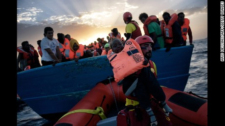 A child is rescued by Proactiva Open Arms, a nongovernmental organization, in early October.