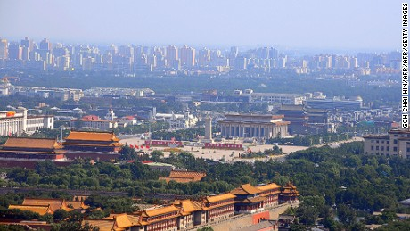 Beijing's Forbidden City and Tiananmen Square in the Chinese capital, taken in 2008.
