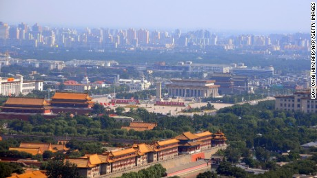 This aerial photo taken on August 2, 2008 shows Beijing's Forbidden City and Tiananmen Square in the Chinese capital. Weather forecasters predicted thunder and rain in Beijing on the day of the Olympic opening ceremony and warned that typhoons could disrupt events in other host cities.   AFP PHOTO/GOH CHAI HIN        (Photo credit should read GOH CHAI HIN/AFP/Getty Images)