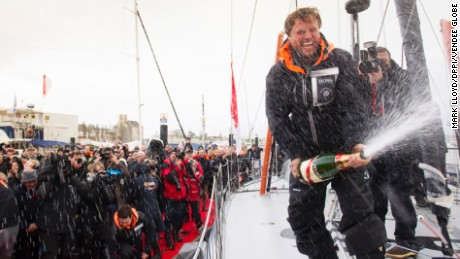 SAILING - VENDEE GLOBE 2012/2013 - LES SABLES D'OLONNE (FRA) - 30/01/13 - PHOTO MARK LLOYD / DPPI - VENDEE GLOBE FINISH FOR ALEX THOMSON (GBR) / HUGO BOSS AFTER 80D 19H 23MN 43SEC / 3rd FOR PODIUM WITH CHAMPAGNE MUMM