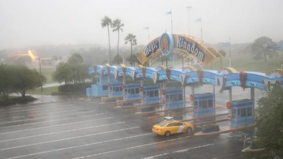 A lone taxi heads toward the Walt Disney World Resort area in Orlando, Florida.