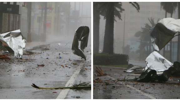 Debris flies through the streets of Daytona Beach.