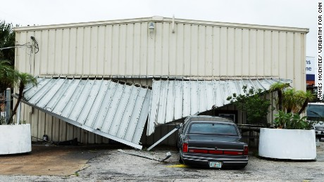 Damage from Hurricane Matthew from heavy rain and wind.