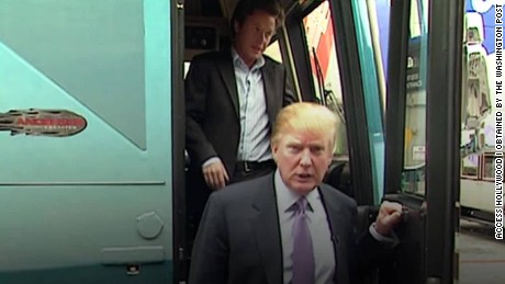 trump hot mic billy bush video bus exit