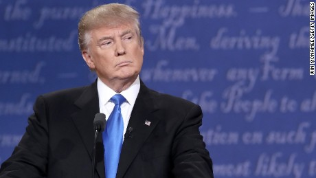 Republican presidential nominee Donald Trump stands at his podium during the Presidential Debate at Hofstra University on September 26, 2016 in Hempstead, New York.  The first of four debates for the 2016 Election, three Presidential and one Vice Presidential, is moderated by NBC's Lester Holt.