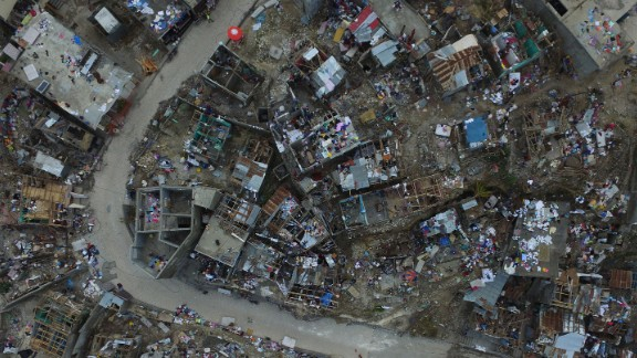 An aerial view shows destruction caused by Hurricane Matthew in Jeremie, Haiti, on Friday, October 7. The damage from Hurricane Matthew was especially brutal in southern Haiti, where sustained winds of 130 mph punished the country.