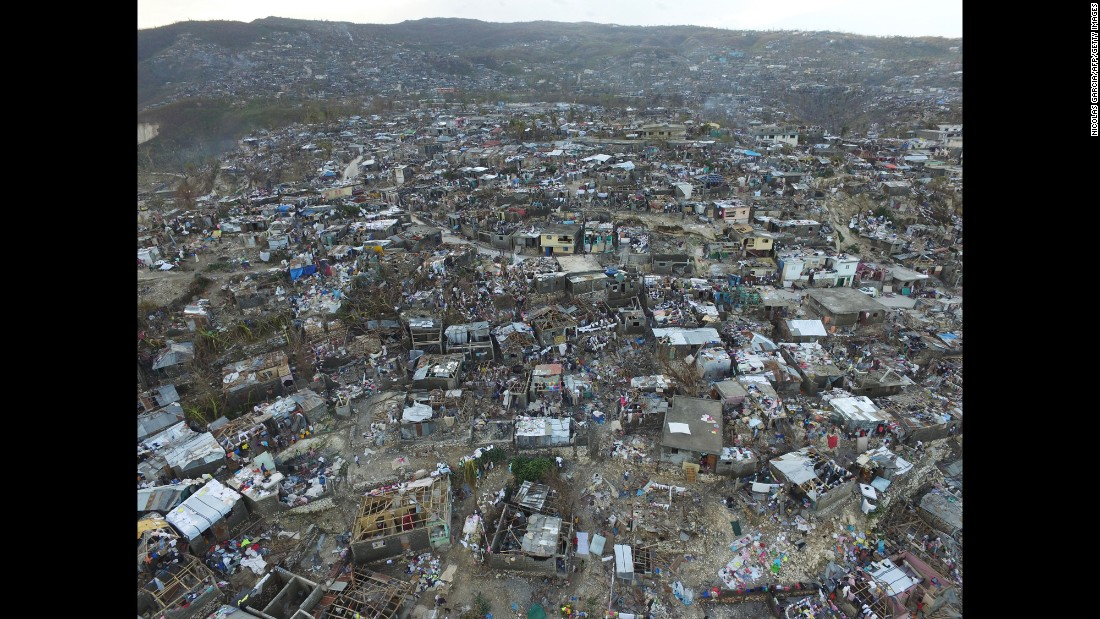 Damaged homes are shown on Friday, October 7, in Haiti, where the death toll is in the hundreds.