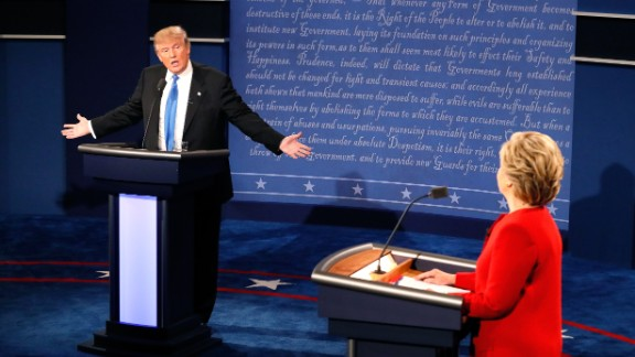 Trump faces Democratic nominee Hillary Clinton in the first presidential debate, which took place in Hempstead, New York, in September.