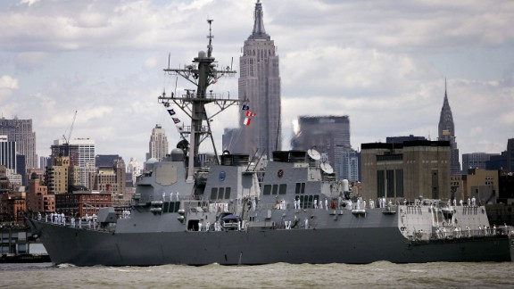 The USS Mason -- pictured here in New York in 2006 -- was in international waters in the Red Sea when it was targeted, a US defense official said.
